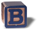 Letter B blue box